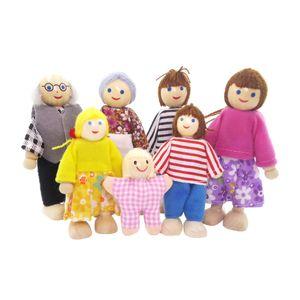 7 Personen Familienpuppen Biegepuppen Minipuppen für Puppenstube Deko Zubehör/Minipuppe ( 4x Erwachsene Puppen + 2x Kinder Puppen + 1x Baby Puppe )