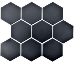 Mosaik Fliese Keramik Hexagon schwarz matt Küche Fliese WC Badfliese MOS11F-0311_f | 10 Mosaikmatten