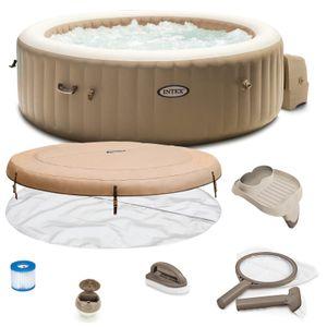 Intex Whirlpool Pure SPA 28428 Bubble Massage Therapy für 6 Personen Kalkschutz Komplett-Set mit Extra-Zubehör wie: Reinigungsset