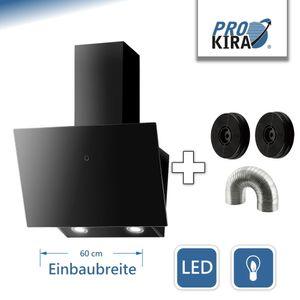 PROKIRA® DH60 GB-02 de Luxe 600m³/h LED, touch control, Glas 60 cm Wandhaube Kopffreihaube Haube Abluft Umluft Dunstabzugshaube Schwarz