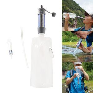 Tragbare Outdoor Survival Wasser Filter Persönliche Schwerkraft Purifier Filtration, für Outdoor Camping Wandern Farbe Grau