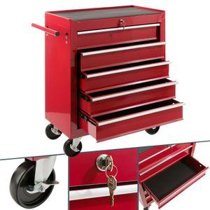 AREBOS Werkstattwagen Werkzeugwagen Rollwagen Toolbox 5 Schubladen kugelgelagert Rot