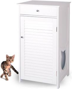 WONDERMAKE Katzenschrank für Katzentoilette groß hoch aus Holz, Katzenklo-Schrank Katzen-Kommode mit Schublade und Tür geschlossen, Design Katzen-Haus Toilette Klo XL, 51 x 46 x 96 cm, weiß