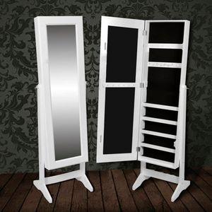 vidaXL Freistehender Spiegelschmuckschrank Kleiderschrank Weiß