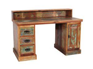 SIT Möbel Schreibtisch | 3 Schubladen, 1 Tür | Altholz lackiert bunt | B 132 x T 65 x H 90 cm | 09110-98 | Serie RIVERBOAT