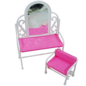 2pcs / Set Frisiertisch Und Stuhl Für Die Barbie-Puppen