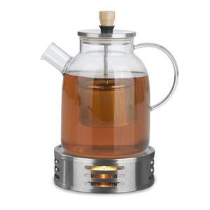 Tee Kanne Glas mit Stövchen Teebereiter Teewärmer 1,5 L Edelstahl Sieb Set BEEM