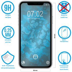 2 x PhoneNatic Glas-Folie klar  kompatibel mit Apple iPhone 11 / XR - Panzerglas für iPhone 11 / XR