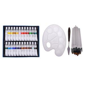 24 Farben Acrylfarben Acrylfarbenset Tube mit 12er Künstlerpinsel Set Künstler Pinsel Set Malpinsel für Aquarell Öl Acryl