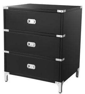 Casa Padrino Luxus Beistelltisch mit 3 Schubladen Schwarz 71 x 40,5 x H. 74 cm - Wohnzimmermöbel