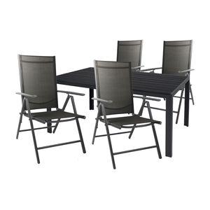 Gartengarnitur Sitzgarnitur 5-teilig 150x90cm Aluminium / Polywood Anthrazit / Schwarz