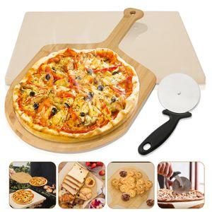EINFEBEN Pizzastein Deluxe Pizzaschaufel Set Schaufel Profi Backstein Gasgrill Cordierit Brotback