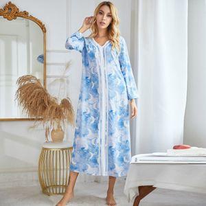 Frauen Nachthemd Blumen Moon Star Print V-Ausschnitt Langarm Pullover Schlafkleid Laessig Loose Loungewear Lange Nachtwaesche
