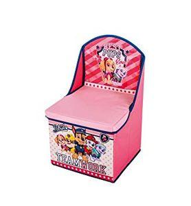 familie24 Paw Patrol Girl 2in1 Stuhl + Aufbewahrungsbox mit Deckel Stuhl Kiste Spielzugkiste Spielzeugbox Box Hocker Kinderhocker