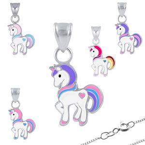 Kinderkette Silber 925 Kette: Einhorn Anhänger Halskette für Mädchen, Modell:Modell 1