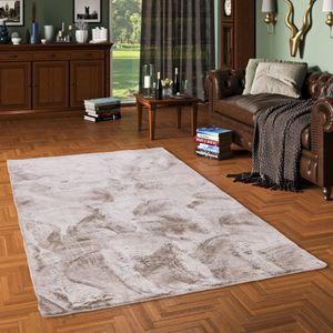 Luxus Super Soft Fellteppich Plush Taupe Meliert, Größe:140x180 cm