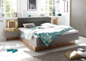 Doppelbett Nachtkommoden CAPRI Bett Ehebett Schlafzimmer 180 x 200 grau Wildeiche