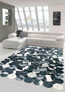 Kuhfell Teppich Patchwork in Schwarz Grau Weiß Größe - 120x160 cm