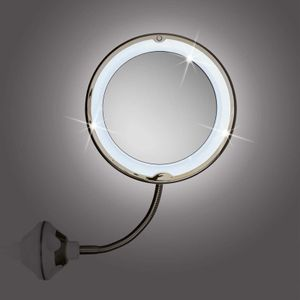 2er Set GNTM Beleuchteter LED Kosmetikspiegel mit Schwanenhals und Saugnapf Schminkspiegel Spiegel 5-fach Vergrößerung