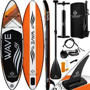 KESSER® Aufblasbares SUP Board Set Stand Up Paddle Board Premium Surfboard Wassersport | 6 Zoll Dick  | Komplettes Zubehör | 130kg , Farbe:(VARIO) Orange 320CM