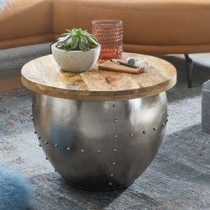 WOHNLING Couchtisch Mango Massivholz / Metall 60x43x60 cm Industrial Style Rund   Design Wohnzimmertisch mit Stauraum   Moderner Loungetisch Sofatisch Silber