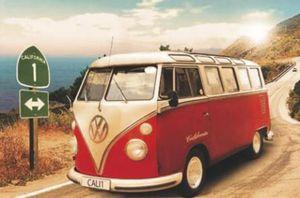 California Camper VW Bus Poster 61 x 91,5 cm