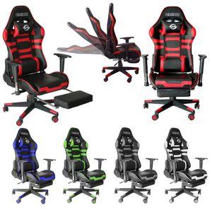 Bürostuhl Gaming Schreibtischstuhl Drehstuhl Race Chair Sportsitz + Beinauflage, schwarz/rot