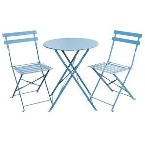 SVITA Bistro-Set 3-teilig Garten-Set Garnitur Metall-Möbel Stuhl Tisch Klapp-Möbel Balkon-Set Blau