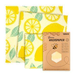 3er Pack Wachspapier | Bienenwachstücher (18x20cm) für Lebensmittel | nachhaltig, umweltfreundlich & wiederverwendbar ideale Alternative zur Frischhaltefolie Obst Gempse Brot Verpackung Lebensmittelaufbewahrung Food Wrap Brotbeutel Butterbrotpapier - Zitrone