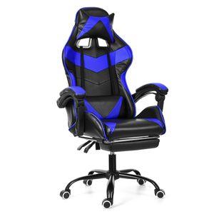 Meco Bürostuhl Drehstuhl Schreibtischstuhl Gaming-Stuhl 150 Grad liegend mit Fußstütze Bürosessel Blau Ergonomisch gestaltet