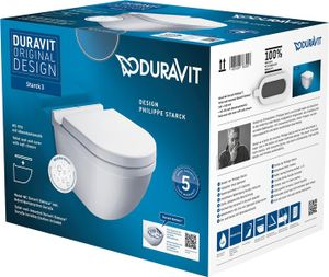 Duravit Wand-WC Set Starck 3, rimless, Weiß Tiefspüler, und WC-Sitz Absenk., 45270900A11