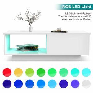 Couchtisch moderner Hochglanz Kaffeetisch mit RGB LED-Beleuchtung und Schublade Weiß