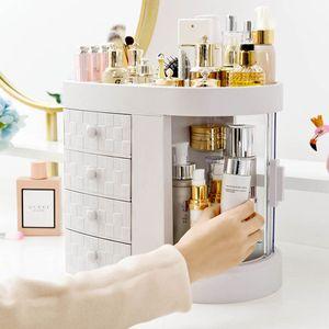 CAMTOA Kosmetik Make Up Organizer Schreibtisch Drehbar Aufbewahrung Ordnungssystem Schublade weiß