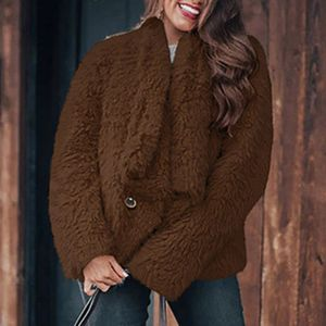 Mode Frauen einfarbig Plüsch Mantel Jacke Knöpfe Strickjacke Oberbekleidung Mantel Größe:S,Farbe:Taupe