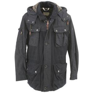 21308 Camel Active, ,  Herren Wintterjacke, Woll-Jeans-Parka wattiert, black denim, D 50