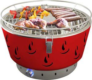 Holzkohlegrills Tischgrills Rot, grill mit Aktivbelüftung,Perfekt geeignet für Fleisch, Würstchen, aber auch Gemüse und Brot