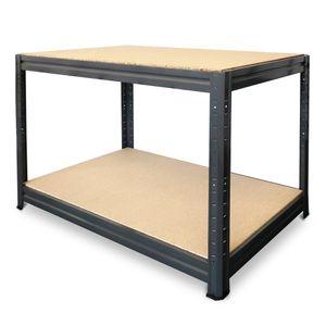 HEMMDAL Werkbank Typ L, anthrazit – 87 x 160 x 60 cm – belastbar bis 375 kg – stabiler Werktisch / Packtisch aus Metall –  EU – schnelle Steckmontage