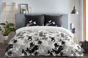 etérea Baumwolle Bettwäsche - Osaka Schmetterlinge - weich und pflegeleicht  2 teilig 135x200 cm + 80x80 cm  Grau