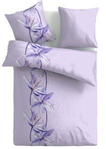 Seersucker Bettwäsche, 135 x 200 + 80x80cm, hellblau lila flieder Blütenmuster, bügelfrei, Microfaser