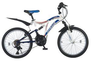 20 Zoll Kinder Jungen Mädchen Fahrrad Kinderfahrrad Mtb Mountainbike Fahrrad Rad Bike Unisex 21 GANG Fully Vollfederung KINGS Weiss Weiß Blau