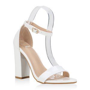 Mytrendshoe Damen High Heels Sandaletten Blockabsatz Party Riemchen Schuhe 832441, Farbe: Weiß, Größe: 41