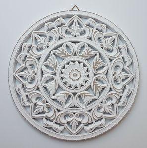 Wandornament weiß shabby Ornament Wanddeko Holzbild Holzornament Ø 35 cm