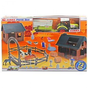 DICKIE Claas Farm Set 72-teilig Traktor Bauernhof Trecker Anhänger Schwein Kuh Hund NEU