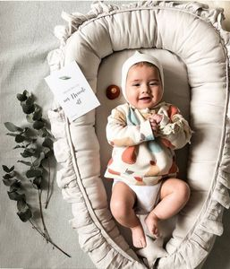 Babynest Nestchen Baby Nest Babynestchen Kokon Kuschelnest für Neugeborene Babybett handmade Velvet Beige