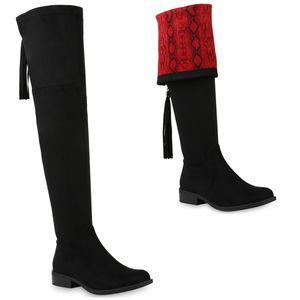 Mytrendshoe Damen Stiefel Overknees Leicht Gefütterte Boots Snake Print Schuhe 831722, Farbe: Schwarz Rot Snake, Größe: 38