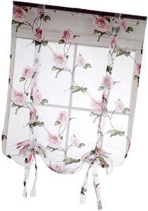Landhaus Kurze Tüll Vorhänge mit Blumenmuster - # 2 Rosa 100x160cm