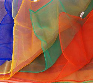 6 er Set Jongliertücher 70 x 70 cm - 6 Standard Farben Gymnastiktücher