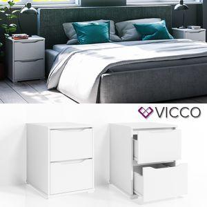 VICCO Nachtschrank RUBEN Nachttisch Weiß Kommode Schlafzimmer Schublade Ablage