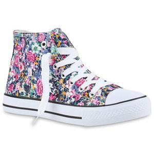 Mytrendshoe Damen Sneakers High Top Sportschuhe Schnürer Stoffschuhe 816759, Farbe: Mehrfarbig Muster, Größe: 39