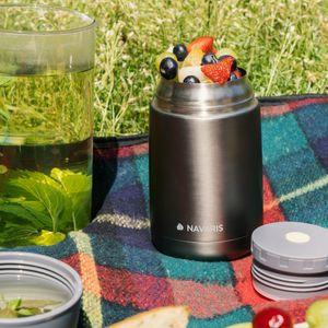 Navaris 650ml Thermobehälter für Essen - Edelstahl Warmhaltebox für Suppe Speisen Babybrei - Thermo Behälter Isolierbehälter auslaufsicher - grau